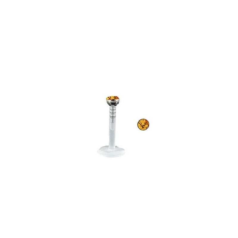 Piercing labret lèvre 8mm strass doré Tryre Piercing labret2,99€