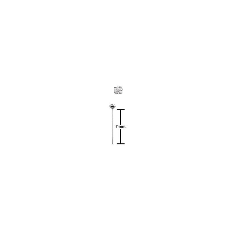 Piercing nez à plier 2mm blanc serti Sut Piercing nez2,60€