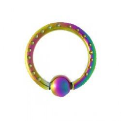 Piercing anneau 12 x 2mm arc en ciel et boule Chulo ANN017