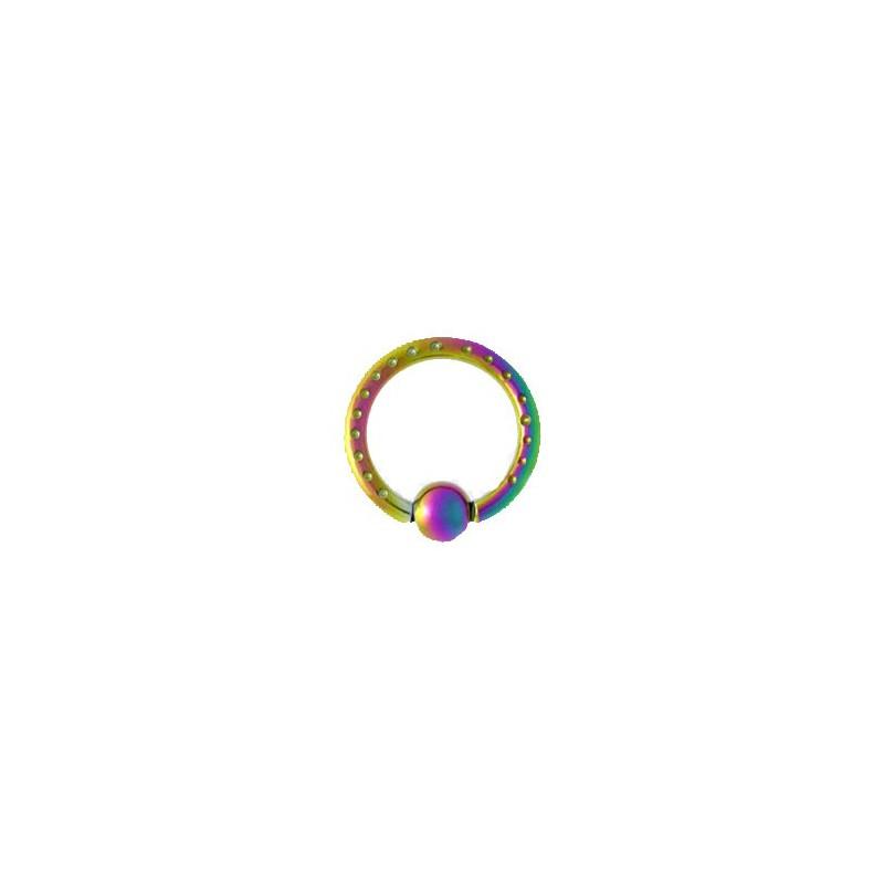 Piercing anneau 12 x 2mm arc en ciel et boule Chulo Piercing oreille3,49€