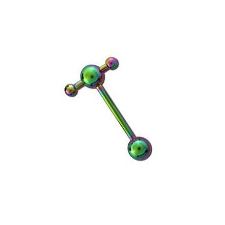 Piercing langue vec boules joueuses arc en ciel Uho Piercing langue4,65€