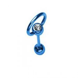 Piercing langue anneau esclave bleu crystal blanc Syter LAN092