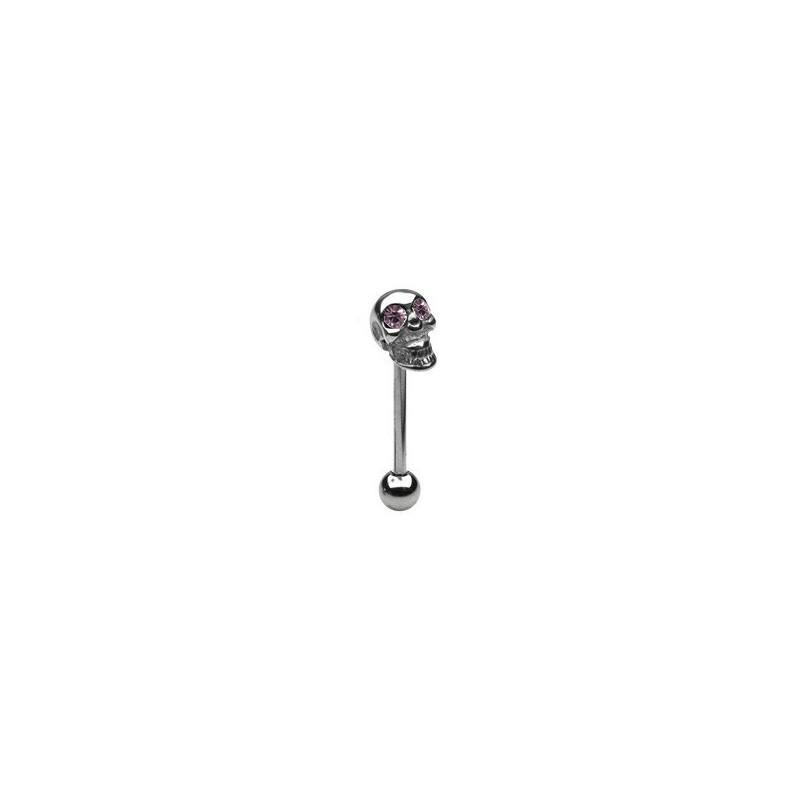 Piercing langue tete de mort yeux améthyste Fiw Piercing langue4,85€