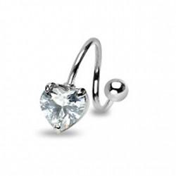 Piercing nombril spirale avec un cœur blanc Kyt Piercing nombril6,80€