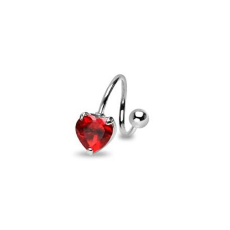 Piercing nombril spirale coeur rouge Yani NOM096
