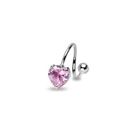 Piercing nombril spirale coeur rose Kiux NOM096