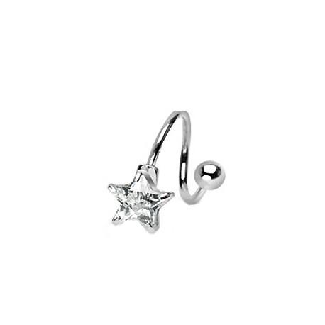 Piercing nombril spirale étoile blanche Hity NOM097