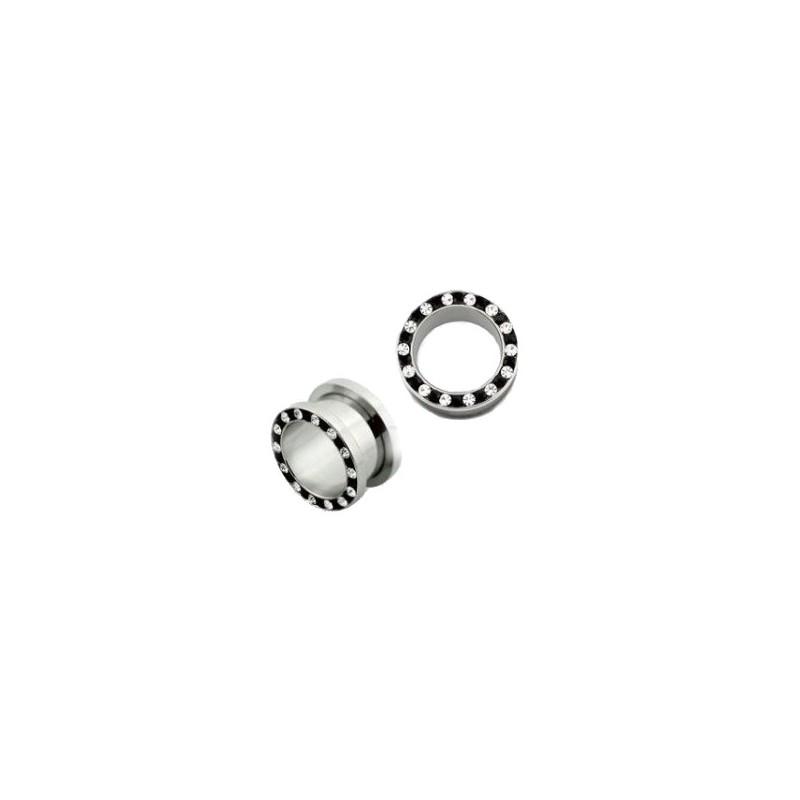 Piercing tunnel blanc et noir 6mm Ong Piercing oreille6,49€