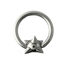 Piercing anneau 12 x 1,6mm boule et pointes Cao ANN042