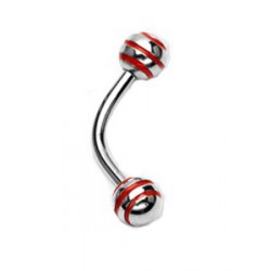 Piercing arcade 8mm boules rouge Kob ARC007