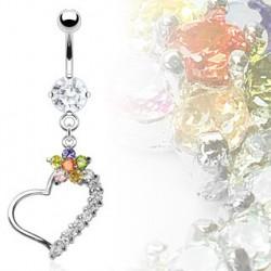 Piercing nombril pendentif avec un cœur et fleur Ylao Piercing nombril13,50€