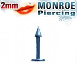 Piercing labret lévre bleu clair 2mm Poyu LAB025