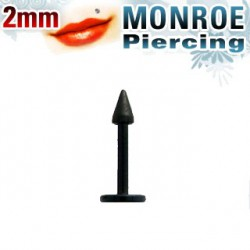 Piercing labret lévre pointe noire 2mm CIra LAB025