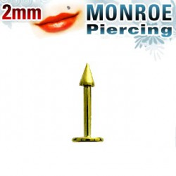 Piercing labret lévre pointe doré 2mm Wao LAB025