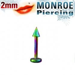 Piercing labret lévre arc en ciel 2mm Wonu