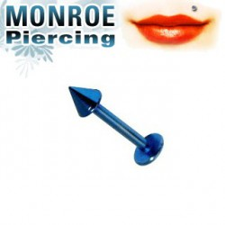 Piercing labret lévre 6mm pointe bleu 2,5mm Cin LAB026