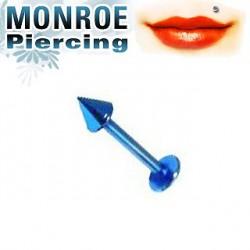 Piercing labret lévre 6mm bleu clair 2,5mm Chiry LAB026