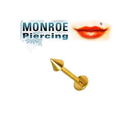 Piercing labret lévre 6mm pointe doré 2,5mm Maner LAB026