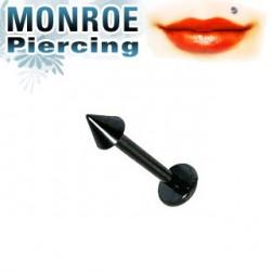 Piercing labret lévre 6mm et pointe noire 2,5mm Muy