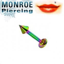 Piercing labret lévre 6mm arc en ciel 2,5mm Ticho LAB026