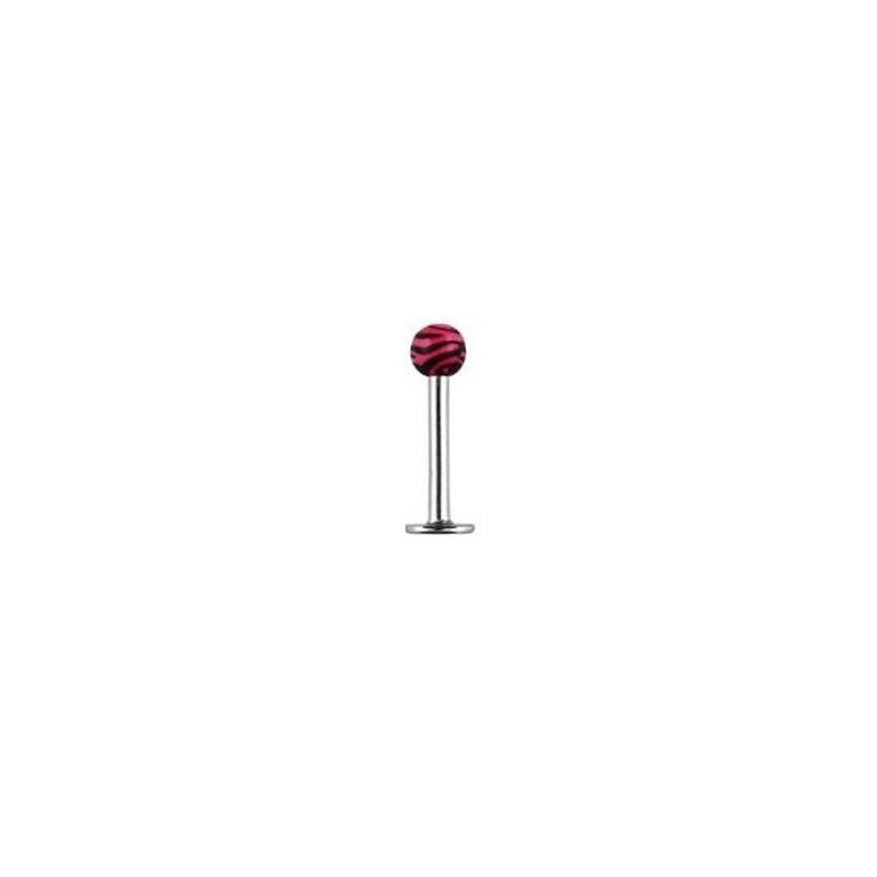 Piercing labret lévre boule zébré rose Kafu Piercing labret2,75€