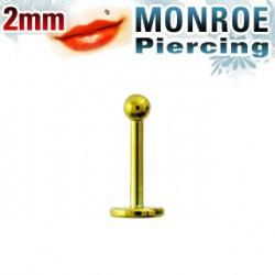 Piercing labret lèvre boule doré 2mm Pyp
