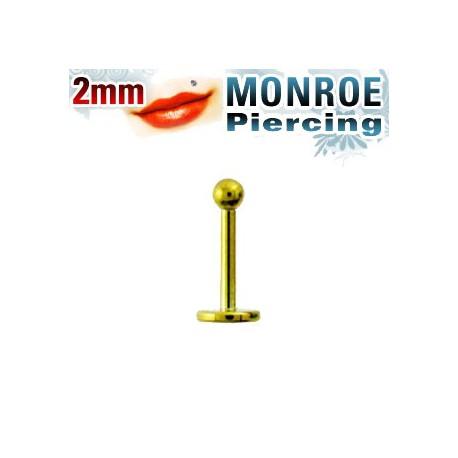 Piercing labret lèvre 6mm et boule doré 2mm Pyp LAB046