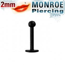 Piercing labret lèvre 6mm et boule noire 2mm Van