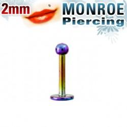 Piercing labret lèvre arc en ciel 2mm Von
