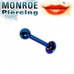 Piercing labret lèvre 6mm et boule bleu 2,5mm Peyp