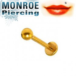 Piercing labret lèvre 6mm et boule doré 2,5mm Poyr