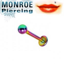 Piercing labret lèvre 6mm arc en ciel et boule 2,5mm Vlon