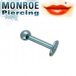 Piercing labret lèvre 6mm bleu clair et boule 2,5mm Vanlu