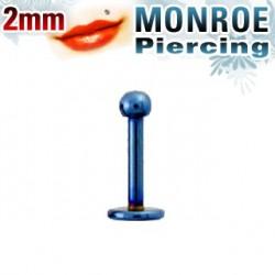 Piercing labret lèvre boule bleu 2mm Pop