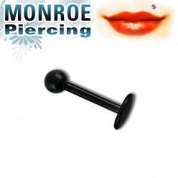Piercing labret lèvre 6mm et boule noire 2,5mm Valu LAB047