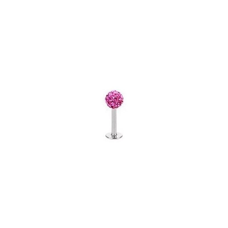 Piercing labret lèvre boule crystal rose 6mm Vanol Piercing labret6,90€
