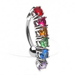 Piercing nombril inversé arc en ciel Mouly NOM126