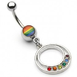 Piercing nombril gay pride arc en ciel Mily
