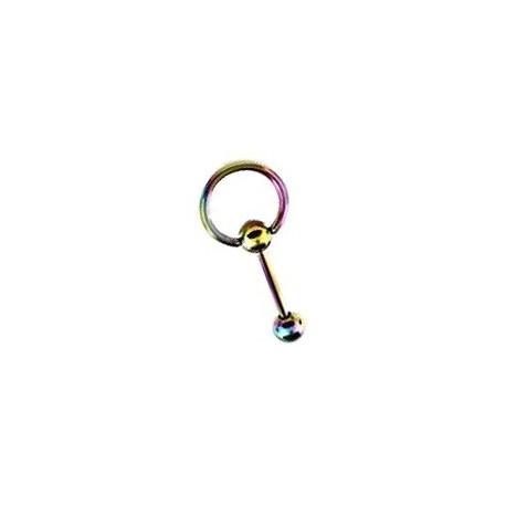 Piercing langue anneau 10mm arc en ciel Pet LAN031