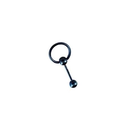 Piercing langue 10mm anneau bleu Pama LAN031
