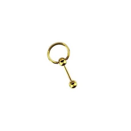 Piercing langue anneau 10mm doré Phalin LAN031