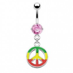 Piercing nombril peace rasta rose Syhut NOM152