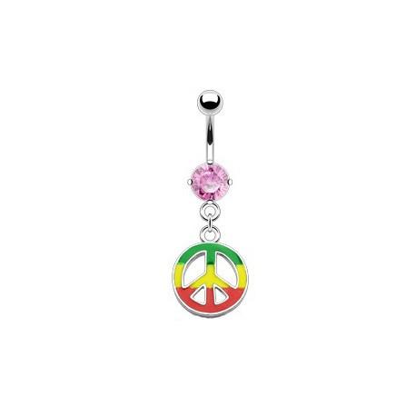 Piercing nombril peace rasta rose Syhut NOM152