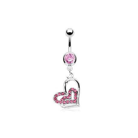 Piercing nombril avec deux cœurs rose entrelacés Kety Piercing nombril8,80€
