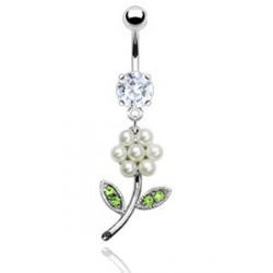 Piercing nombril fleur et perles blanc Alyv NOM169