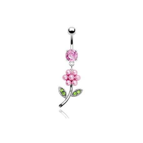 Piercing nombril fleur et perles rose Xey NOM170