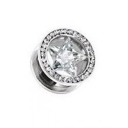 Piercing tunnel étoile blanche 14mm Yut PLU049