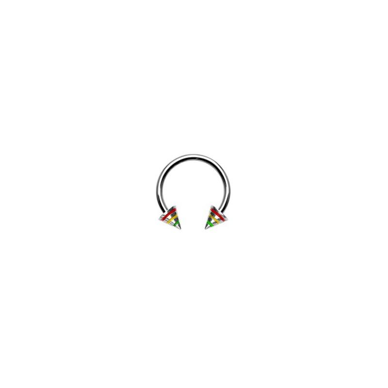 Piercing fer à cheval 12mm x 1,6mm rayé rasta Anut Piercing oreille4,49€