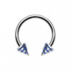 Piercing fer à cheval 12mm rayé bleu Taya FER005
