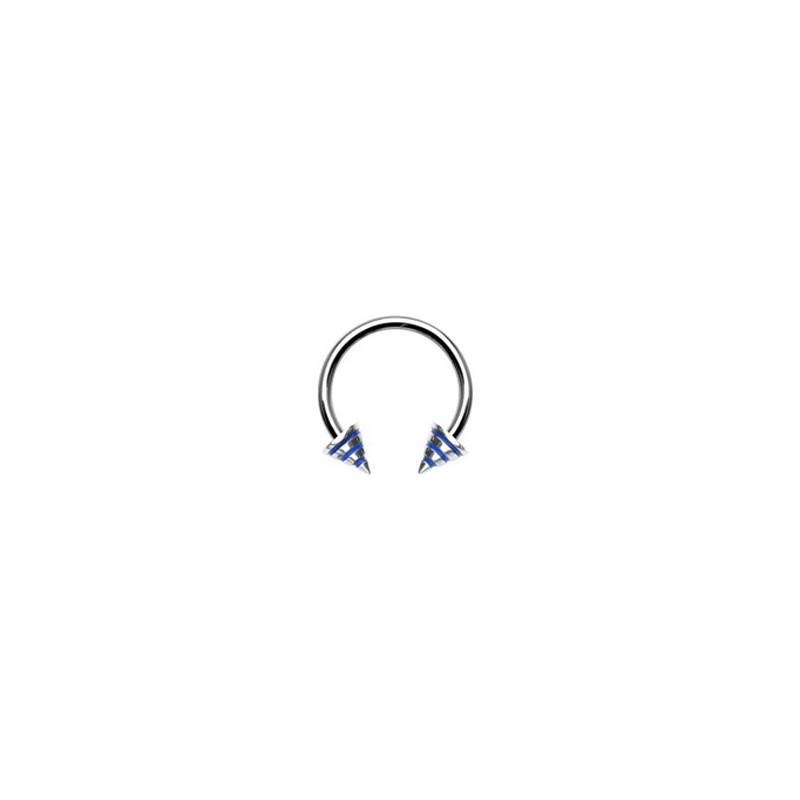 Piercing fer à cheval 12mm rayé bleu Taya Piercing oreille4,49€